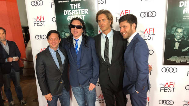 Scott Neustadter, Tommy Wiseau, Greg Sestero, and Michael Weber at AFI Fest 2017.Photo by Erin Westerman.