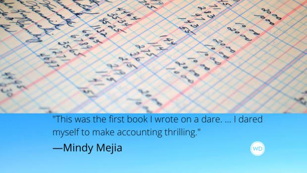 "Mindy Mejia quote: ""This was the first book I wrote on a dare. ... I dared myself to make accounting thrilling."""
