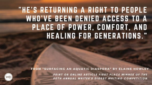"""Writer's Digest 90th Annual Competition Print or Online Article First Place Winner: """"Surfacing an Aquatic Diaspora"""""""