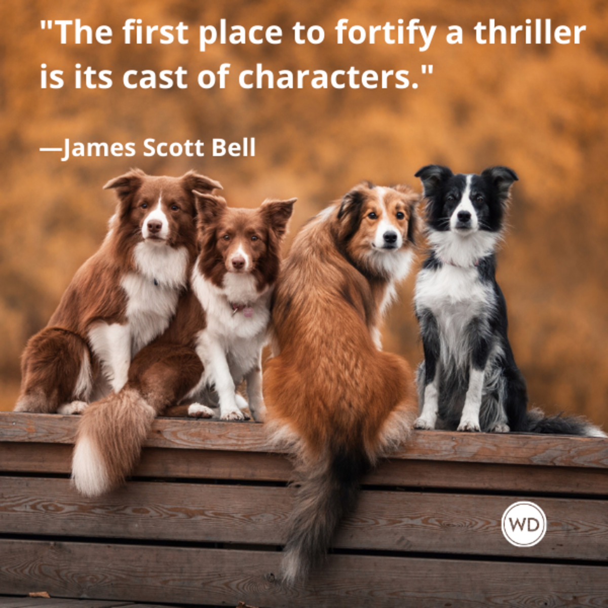 james_scott_bell_quotes_the_first_place_to_fortify_a_thriller_is_its_cast_of_characters_writing_advice_with_dogs