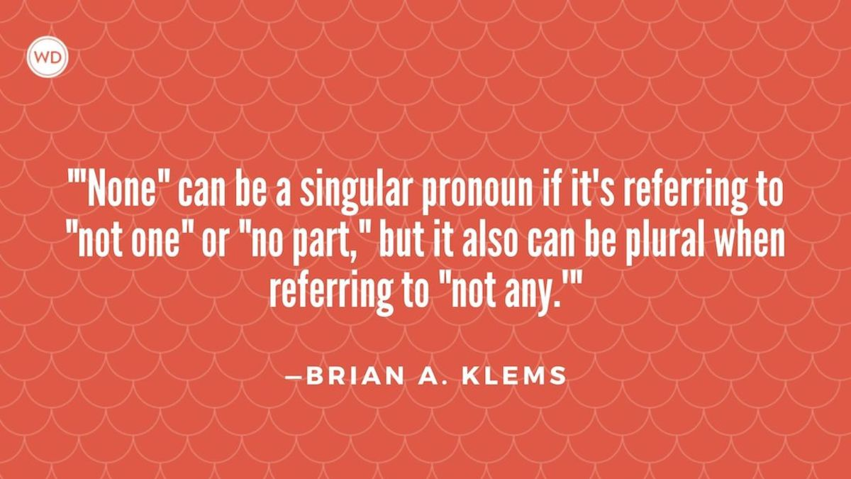 "Is ""None"" Singular or Plural?"