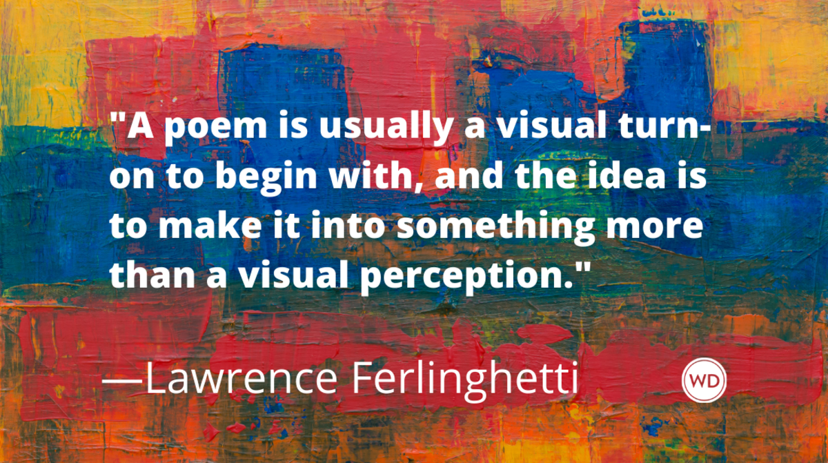 Lawrence Ferlinghetti quotes | A poem is usually a visual turn-on to begin with