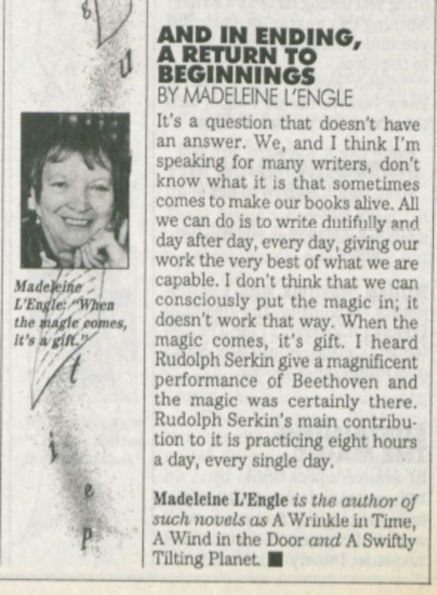 Madeleine L'Engle in Writer's Digest, March 1990