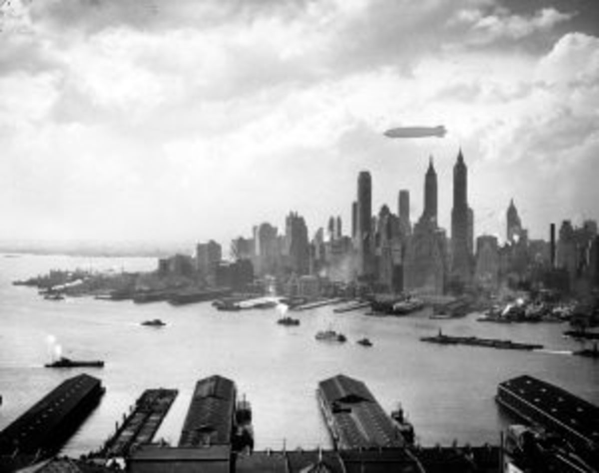 Hindenburg Flying Over New York City
