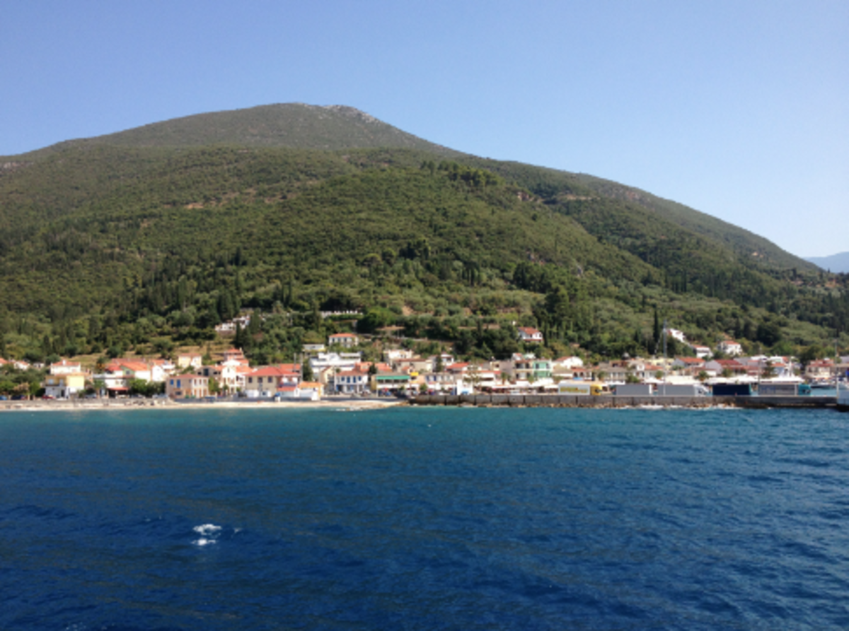 You can't get it to the isle of Ithaca by plane. I had to fly to Athens, and then to a large island called Kephalonia (which has about a million different spellings). What you see here is a town on Kephalonia that I departed from to get to Ithaca.