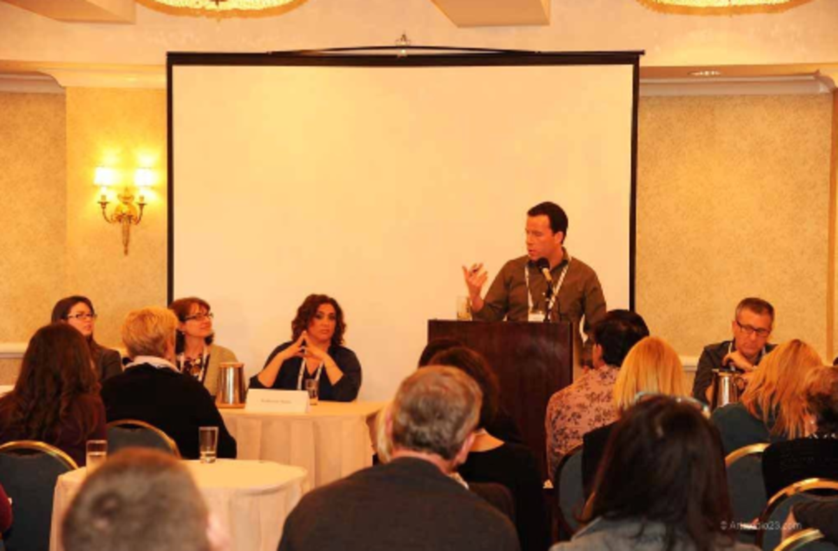 Me moderating a panel that features 13 agents. Yes--13 agents. It was quite a thing to moderate.