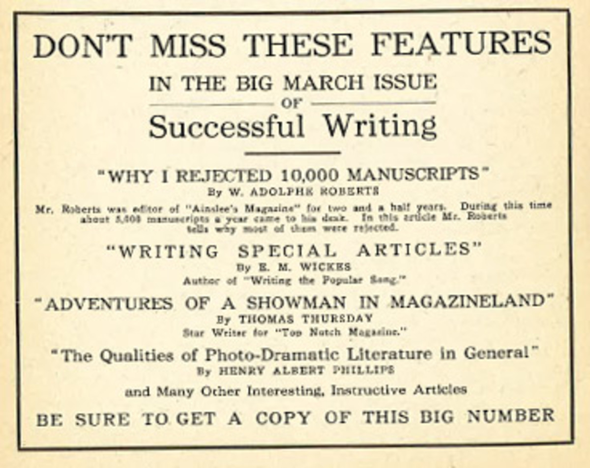 Writer's Digest - Experiments in early house ads
