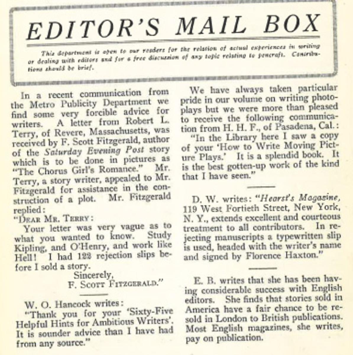 Writer's Digest - Editor's Mail Box: F. Scott Fitzgerald