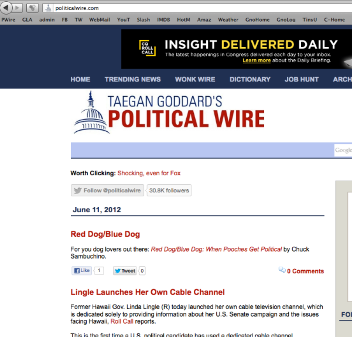 Was so pumped to see this. Political Wire is probably the first site I read in the morning after checking my e-mail.