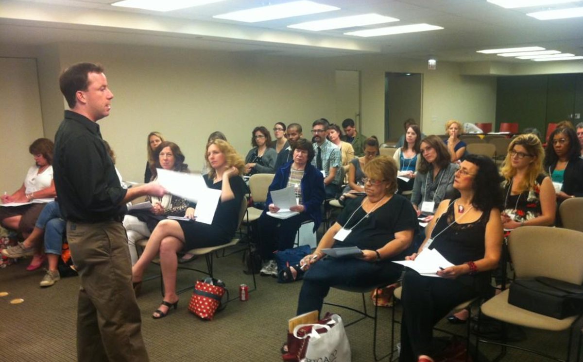 Me teaching a session on getting a literary agent.