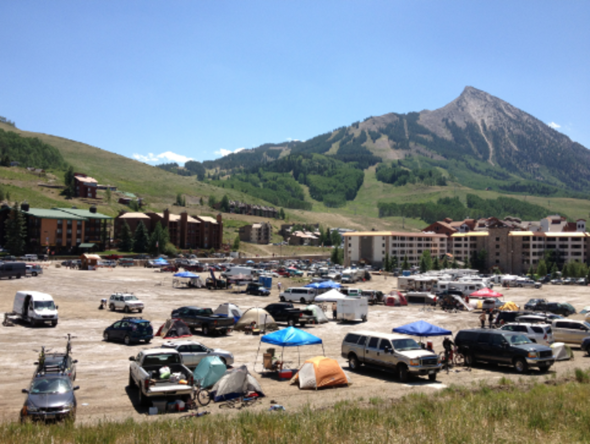 "I think this is a great picture of Crested Butte, because it shows the beautiful mountain west scenery, the plethora of lodges and condos everywhere, and how the town embraces its ""come here and camp"" identity."