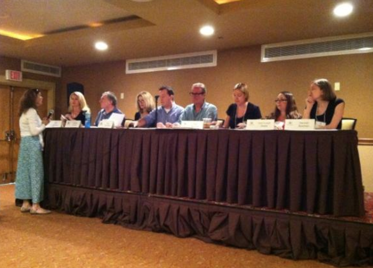 The big publishing panel at the event. All four of the event's literary agents are sitting on the panel with me.