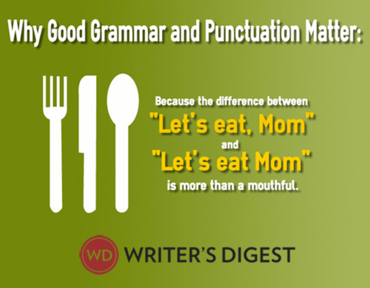 Free download featuring grammar and novel writing myths to help you with good grammar and punctuation.